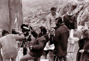 Branka Turkalj (u sredini) na snimanju filma Mala pljačka vlaka